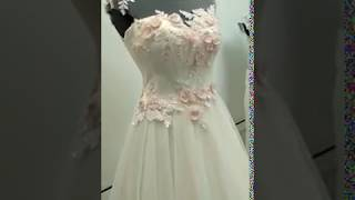 Нежное свадебное платье цвета пудра/айвори, украшено бисером и жемчугом