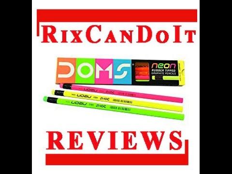 PENCIL REVIEW! DOMS Neon Rubber Tipped Graphite Pencils