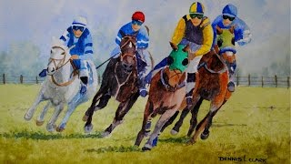 how to paint horses racing in watercolor time lapse painting tutorial