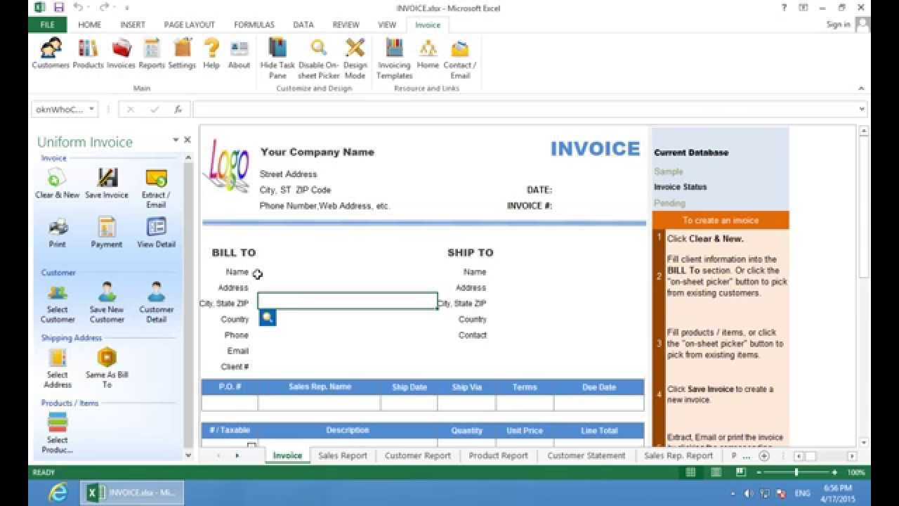 Excel Invoice Software Quick Start YouTube - Invoice creation software free