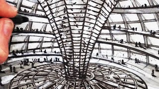 How to Draw Famous Buildings: The Reichstag Dome Berlin マクファーソン 検索動画 22