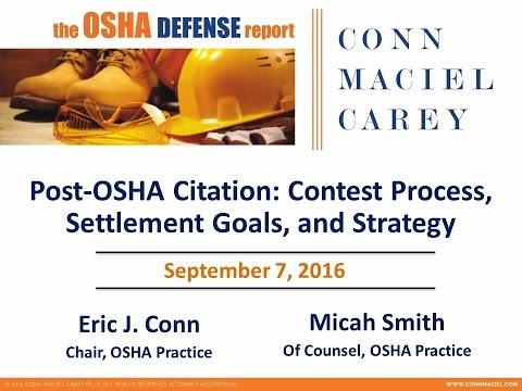 Post-OSHA Citation: Contest Process, Settlement Goals and Strategy