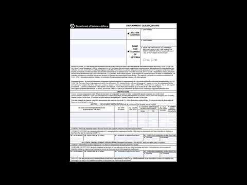 Va Form 21 4140 1 Employment Questionnaire Youtube