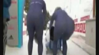 Olympic  Bobsleigh team wardrobe malfunction