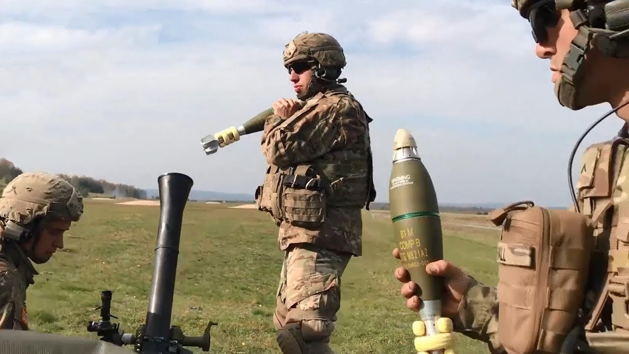 Japanese Soldiers Fire 81mm Mortar