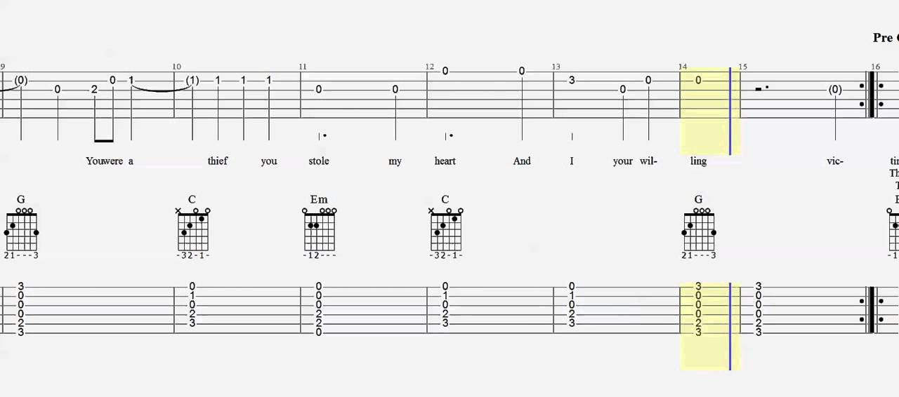 Guitar Tab Duet Just Give Me A Reason Play Along - YouTube