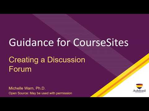Creating A Discussion Forum In CourseSites