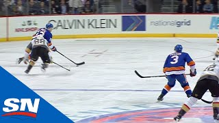 Mathew Barzal's Quick Strck Work Helps Keep Possession To Feed Pelech For Goal