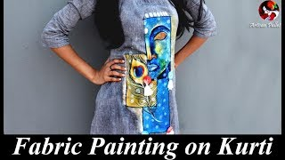 Easy Hand Painted Fabric Designer Kurti | Convert Plain Dress into Designer Wear | Paint on Suit