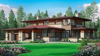 Проект Дома из Кирпича в стиле райта | Обзор дома | Строительство домов из кирпича под ключ.