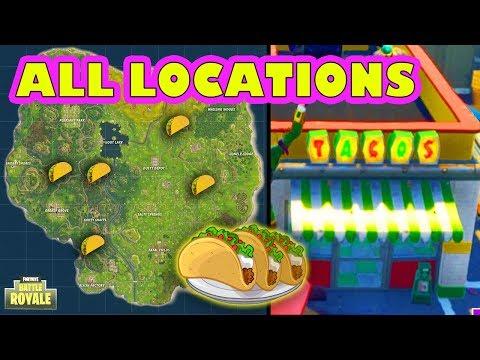 *ALL* VISIT TACO SHOP LOCATIONS CHALLENGE (Fortnite Battle Royale) (5 Shops)