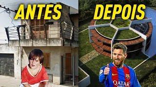 CASA DOS JOGADORES ANTES E DEPOIS DA FAMA! C/ Messi, CR7, Neymar, etc...