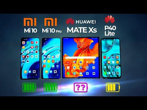 Xiaomi Mi 10 Pro vs Xiaomi Mi 10 vs Huawei P40 Lite vs Huawei MATE Xs Battery Test