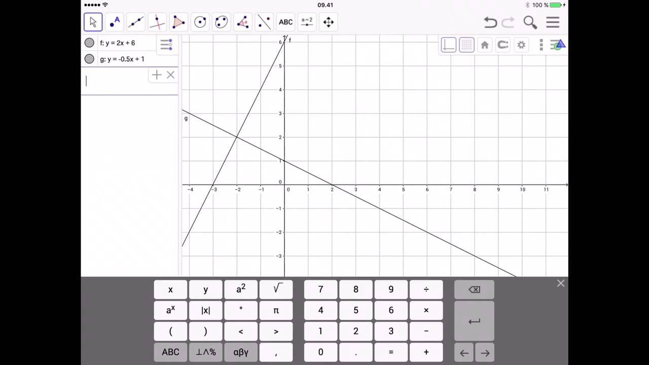 To ligninger med to ubekendte i Geogebra