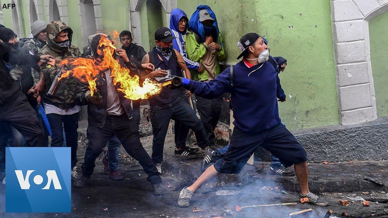 Violent Protests Continue Over Fuel Price Hike In Quito Ecuador