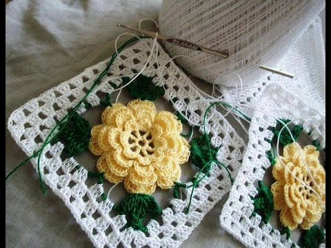 Crochet Granny Square Rose Flower 2 Youtube