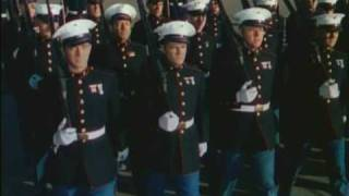 U.S. Marines on Parade in Dress Blues