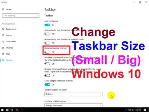 windows 10 how to change task bar size