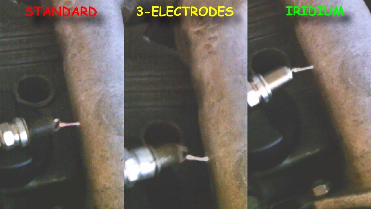 Spark plugs comparison - standard vs 3-electrodes vs iridium