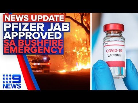 Pfizer vaccine approved for Australia, 400 Firefighters battling blaze in SA | 9 News Australia thumbnail