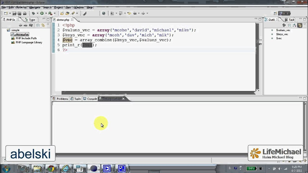 the array combine function in php