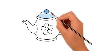 How To Draw a teapot  - Art For Kids