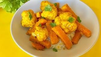 Печен карфиол и печен сладък картоф на фурна | Рецепта с тахан
