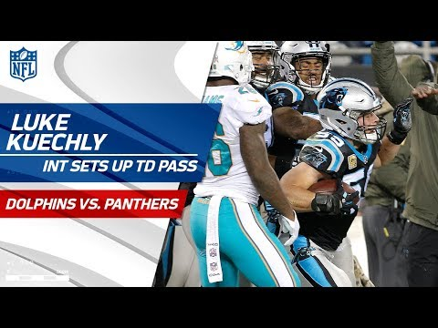 Luke Kuechly's Sick Sideline INT Sets Up Cam Newton's TD Pass!   Dolphins vs. Panthers   NFL Wk 10