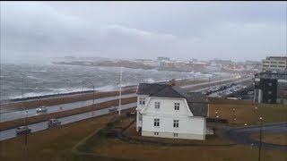 Storm in Reykjavík, Iceland  - Category 5 Hurricane (≥157 mph, ≥252 km/h).