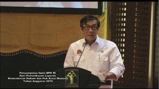 Penyampaian Opini BPK atas Pemeriksaan Laporan Keuangan Kementerian Hukum dan HAM