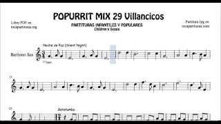 29 Popurrí Mix Villancicos Partituras de Saxo Barítono Noche de Paz Gatatumba Los Peces en el Río