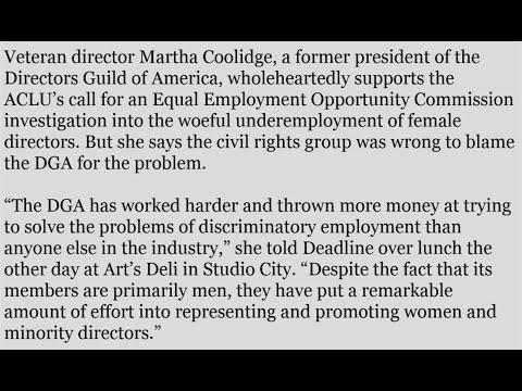 "Martha Coolidge Blaming DGA For Lack Of Female Directors Is ""Dangerous Side Path'"