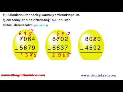 4. Sınıf Matematik Dersi 1. Dönem 2.  Yazılı  (Örnek 1)
