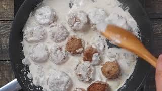 Мясные фрикадельки в сливочно-грибном соусе | Паста с фрикадельками