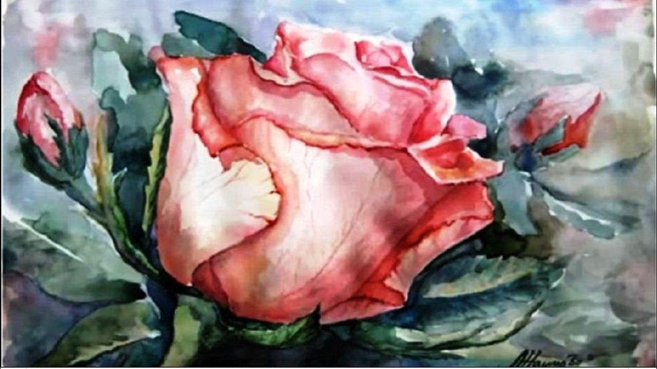 Нарисовать акварелью розу