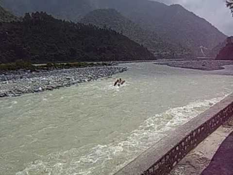 3 Indian Boys Dive Into Gautami Ganga River During Monsoon Haidakhan India