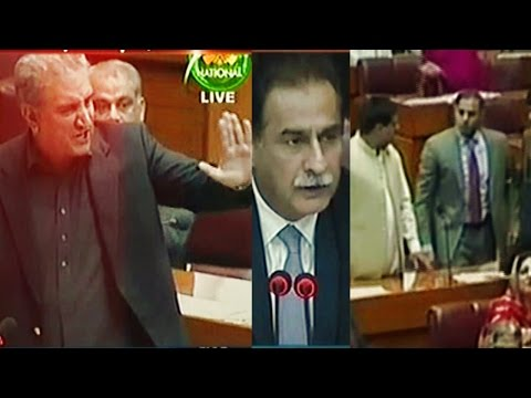 Shah Mehmood Qureshi Speech   PTI vs PMLN Fight in National Assembly - Express News