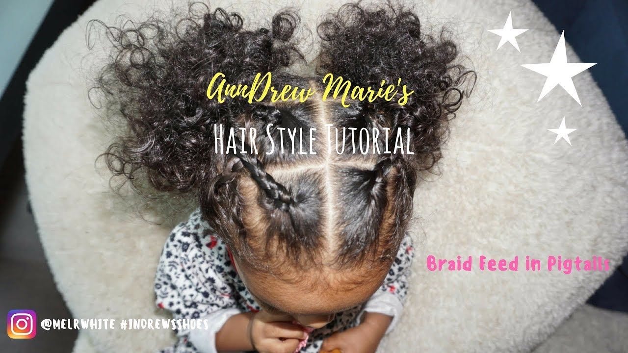 Cute Easy Curly Hair Toddler Hairstyle Criss Cross Braided Pigtails
