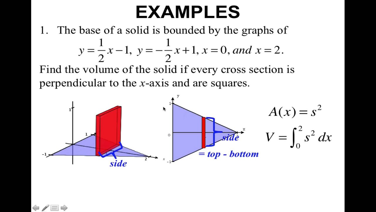 Topic 43-Volumes of Solids with Known Cross Sections - YouTube