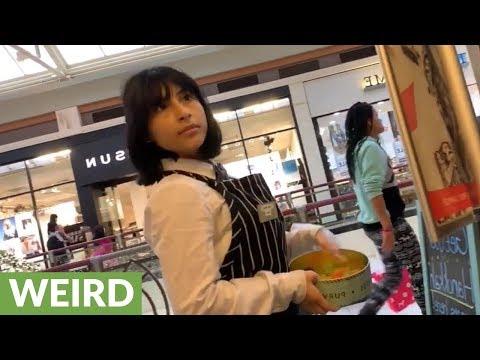Woman selling gummy bears sounds like actual gummy bear!