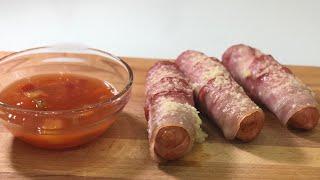 #Сосиски с беконом в духовке#Очень вкусные сосиски#ДомашниеСосиски#