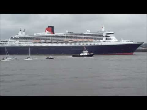 The Three Queens - Cunard 175 - River Mersey (HD)