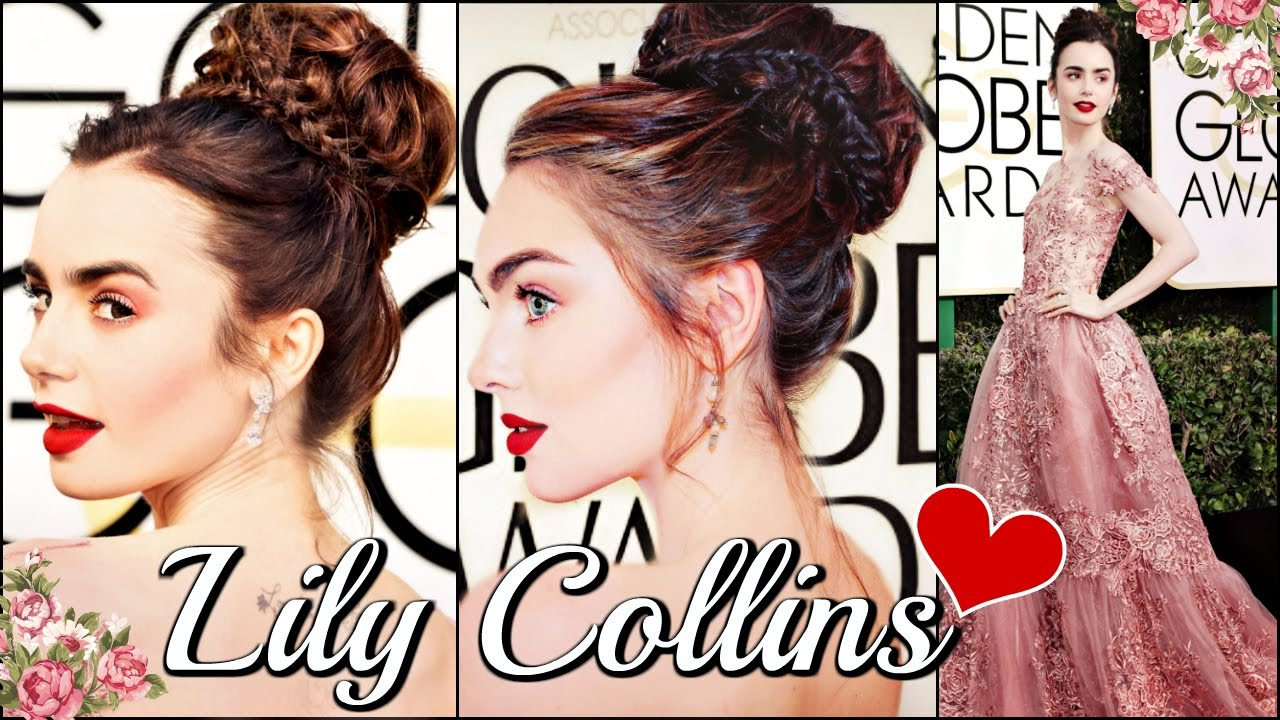 Lily Collins Golden Globes Makeup Hair Tutorial FORMAL 2017