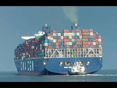 Marco Polo.  The largest container ship to ever enter Halifax harbour, leaves.