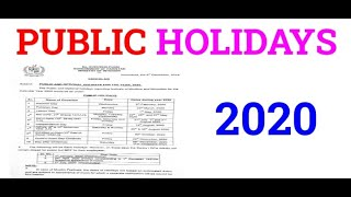 Public Holidays Notification 2020