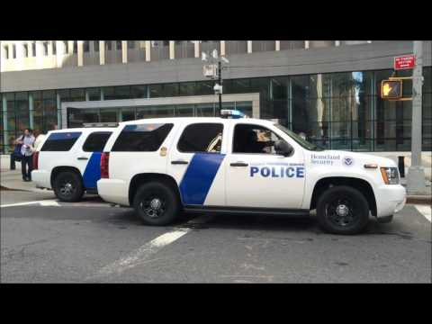 2 HOMELAND SECURITY FEDERAL PROTECTIVE SERVICE POLICE UNITS PATROLLING ON BROADWAY IN MANHATTAN.