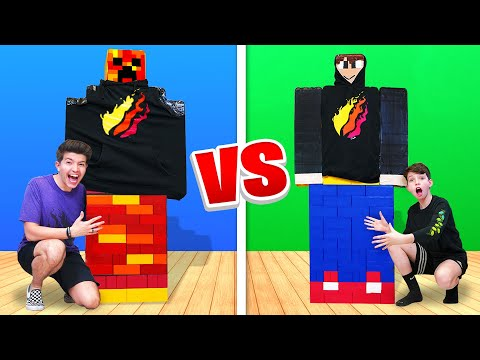 Mega Lego Minecraft Build Battle vs My 13 Year Old Little Brother