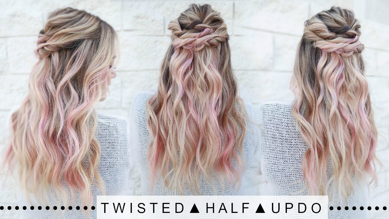 Twisted Half Updo Hairstyle Super Easy Youtube