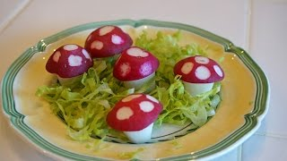 Украшения из фруктов и овощей: грибочки из редиски ___ Radish carving: mushrooms from radish