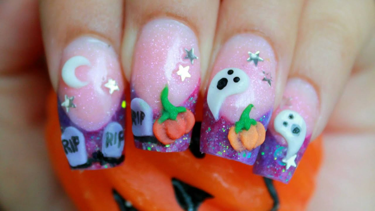 halloween 3d nail art cute purple